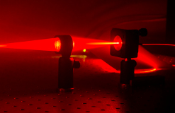 Red laser beam. Photo.